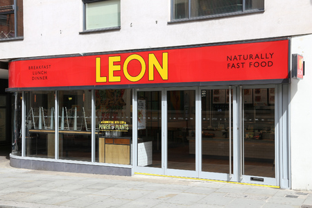 fast food restaurant: LONDON, UK - JULY 9, 2016: Leon natural fast food restaurant in London. According to Tripadvisor there are at least 20,700 restaurants in London.