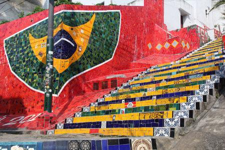 RIO DE JANEIRO, BRAZIL - OCTOBER 19, 2014: Selaron Steps in Rio de Janeiro. The landmark was created by Chilean born artist Jorge Selaron in 1990-2013. Editorial
