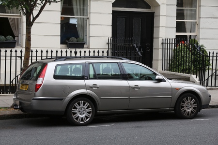 station wagon: LONDON, UK - JULY 9, 2016: Ford Mondeo station wagon car parked in London, UK. Ford is the 5th largest car manufacturer in the world with annual output of 6 million vehicles.