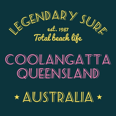 queensland: T-shirt print design. Surfing typography tshirt project. Legendary surf - Coolangatta, Queensland, Australia.