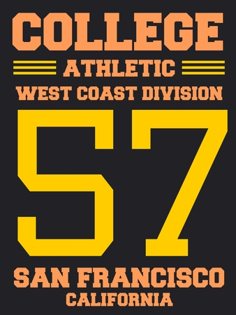 sports jersey: College sports team jersey design - athletic t-shirt. San Francisco, California.