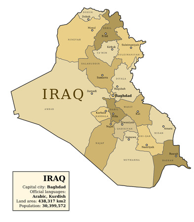 municipalities: Iraq map with provinces (governorates) in various colours and cities: Baghdad, Mosul, Karbala, Najaf and others. Country information data table.