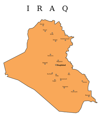 Iraq map with cities: Baghdad, Mosul, Basra, Arbil, Amara and others. Illustration