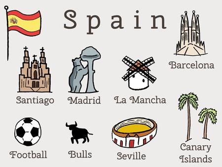 santiago: Spain landmarks collection - set of graphics with Madrid, Barcelona, Santiago de Compostela, Seville and football.