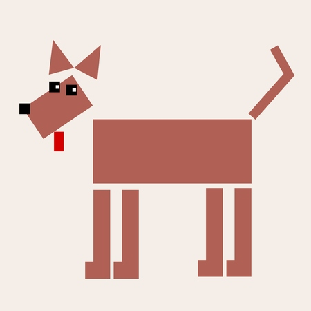 doggies: Dog - geometric animal design. Shepherd dog. Illustration