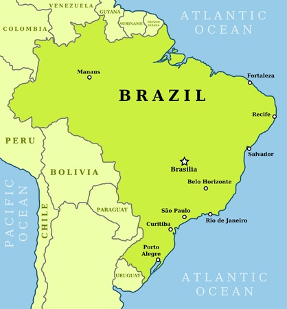 brazil country: Map of Brazil. Country outline with 10 largest cities including Brasilia, capital city.