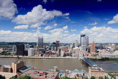 allegheny: Pittsburgh skyline in Pennsylvania - city in the United States. Stock Photo