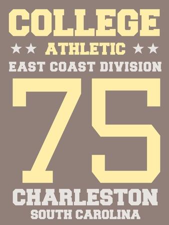sports jersey: Sports team jersey design - athletic t-shirt. East coast - Charleston, South Carolina. Illustration