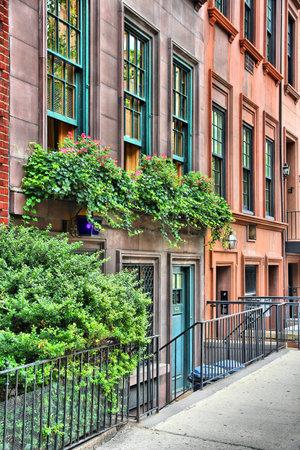 brownstone: New York brownstone houses - old townhouses in Lenox Hill, Upper East Side neighborhood in Manhattan. Editorial