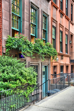 New York brownstone houses - old townhouses in Lenox Hill, Upper East Side neighborhood in Manhattan. Editorial