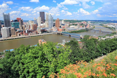 allegheny: Pittsburgh skyline, Pennsylvania - city in the United States. View with Monongahela River. Stock Photo