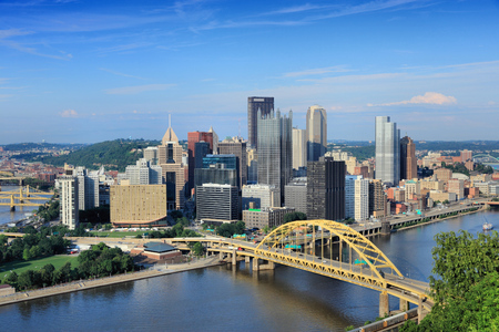 Pittsburgh skyline, Pennsylvania - city in the United States. View with Monongahela River. Stock Photo