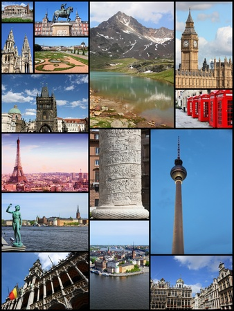 travel collage: Europe landmarks travel collage with Germany, Italy, Belgium, Spain, Austria, UK and Czech Republic.