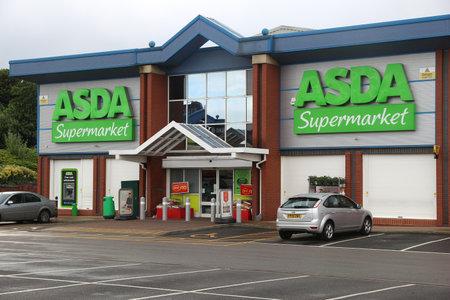 SHEFFIELD, UK - JULY 10, 2016: ASDA Supermarket in Sheffield, Yorkshire, UK. Retail sales generate 5 percent of UK GDP, amounting to 339 billion GBP annually.