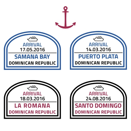caribbean cruise: Dominican Republic travel stamps - Caribbean cruise ship destination badge. Illustration