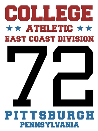 sports jersey: College sports team jersey design - athletic t-shirt. East coast - Pittsburgh, Pennsylvania. Illustration