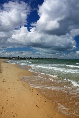 st kilda: St Kilda Beach in Melbourne, Australia. Pacific coast.