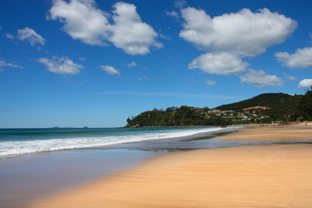 north island: North Island, New Zealand - Hot Water Beach. Waikato region landscape. Stock Photo