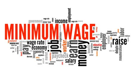 regulations: Minimum salary - salary regulations by government. Career concept word cloud.