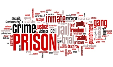 imprisonment: Prison - law enforcement issues and concepts word cloud illustration. Word collage concept. Stock Photo