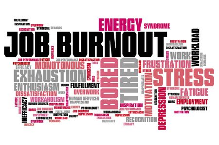 frustration: Job burnout - career stress and frustration. Employment word cloud.