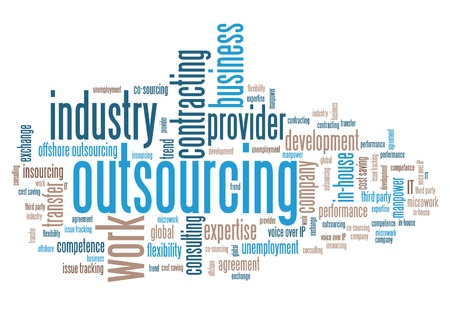 global work company: Outsourcing - human resources issues and concepts word cloud illustration. Word collage concept. Stock Photo