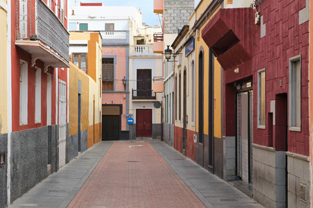 spanish homes: Galdar, Gran Canaria - colorful town street view. Stock Photo