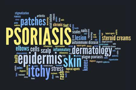 건선 - 피부과 문제 및 피부 건강. 단어 구름 기호입니다.