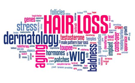 toupee: Hair loss - aging and baldness problem. Word cloud sign.