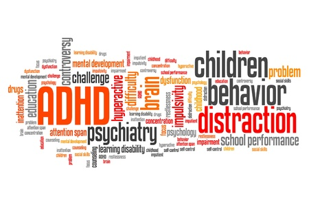 ADHD - Attention deficit hyperactivity disorder. Education problem. Word cloud sign. Stock Photo