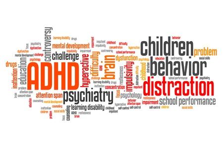 ADHD - attention deficit hyperactivity disorder. Onderwijs probleem. Word cloud teken. Stockfoto