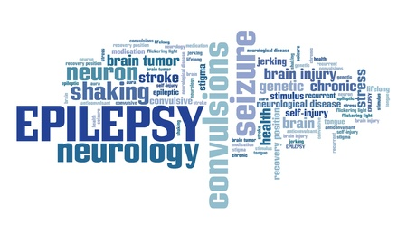 epilepsy: Epilepsy - neurological disorder issue. Word cloud sign. Stock Photo