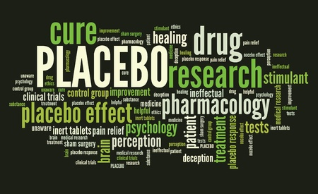 placebo: Placebo effect in drug research and pharmacology. Word cloud sign. Stock Photo