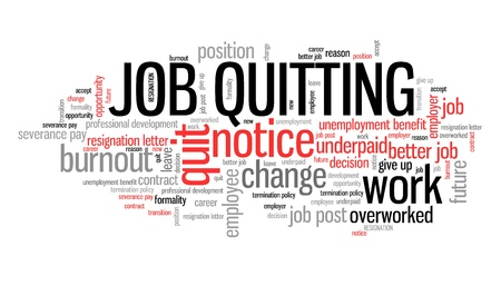 resignation: Quitting the job - career development concept. Employment word cloud. Stock Photo