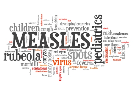 infectious disease: Measles - infectious virus disease. Word cloud sign.
