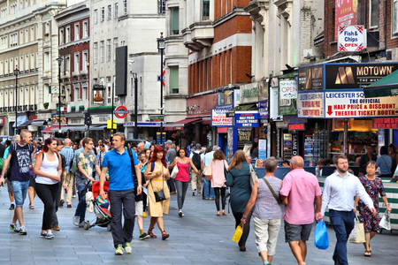 leicester: LONDON, UK - JULY 6, 2016: People visit Leicester Square in London, UK. Leicester Square is the heart of London West End, theatre district. Editorial