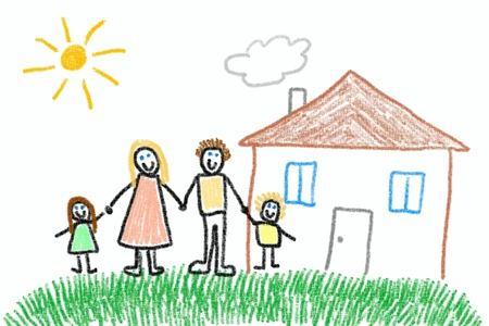 child's: Family and new home - crayon drawing simple style childs illustration.