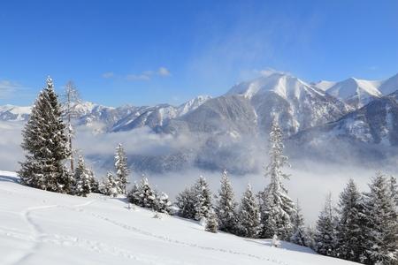 Bad Gastein, Austria. Ski resort in Europe. High Tauern (Hohe Tauern) mountain range in Alps.