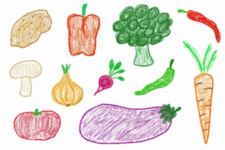 child's: Vegetable set - crayon drawing simple style childs illustration.