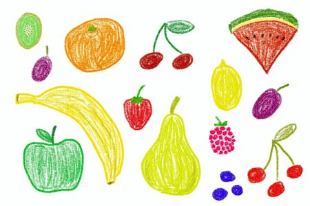 crayon: Fruit set - crayon drawing simple style childs illustration. Stock Photo