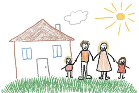 crayon drawing: Family and new home - crayon drawing simple style childs illustration.