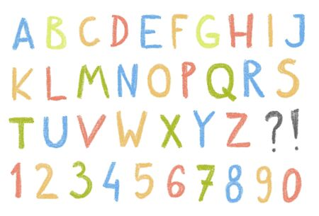 child's: Crayon drawing font letters - simple style childs style illustration.