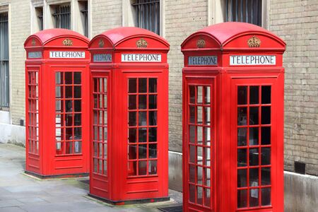 phonebooth: London phone boxes - red telephone kiosks in the UK.