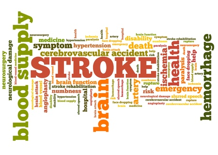 health collage: Stroke - health concepts word cloud illustration. Word collage concept.