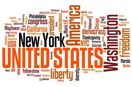 keyword: United States word cloud illustration. Tag cloud keyword concept. Stock Photo