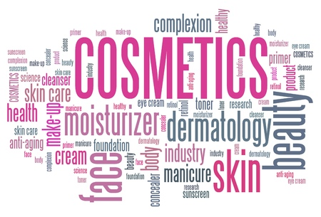 skin care products: Cosmetics industry - skin care products. Word cloud concept.