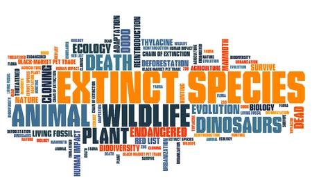 絶滅種 - 環境問題や概念単語雲の図。単語のコラージュの概念。