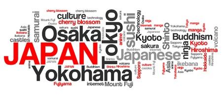 keyword: Japan word cloud illustration. Tag cloud keyword concept.