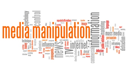 manipulated: Media manipulation issues and concepts word cloud illustration. Word collage concept. Stock Photo