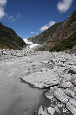 josef: New Zealand landscape - Franz Josef Glacier in Southern Alps mountains.